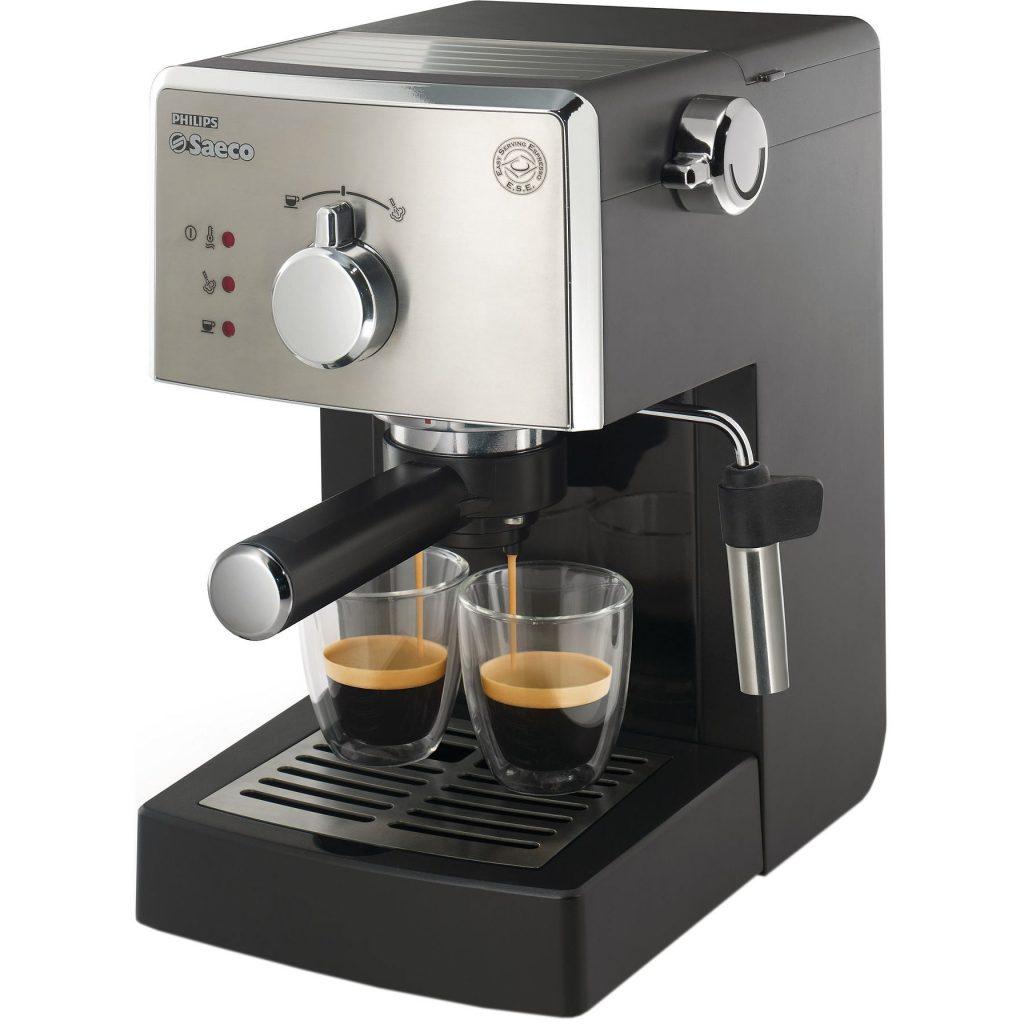 Еспресо машина Philips Saeco Poemia HD8425/19, Ръчна, Устройство за пяна, 15 бара, 1.25 л, Черна/Сребриста