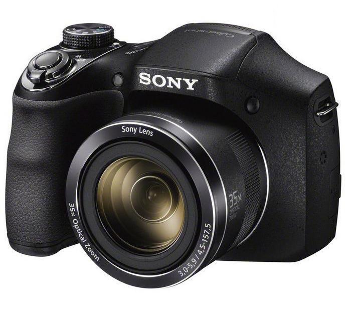 Дигитален фотоапарат Sony DSC-H300, 20.1MP, Черен + Карта SD 8GB, Калъф, Зарядно