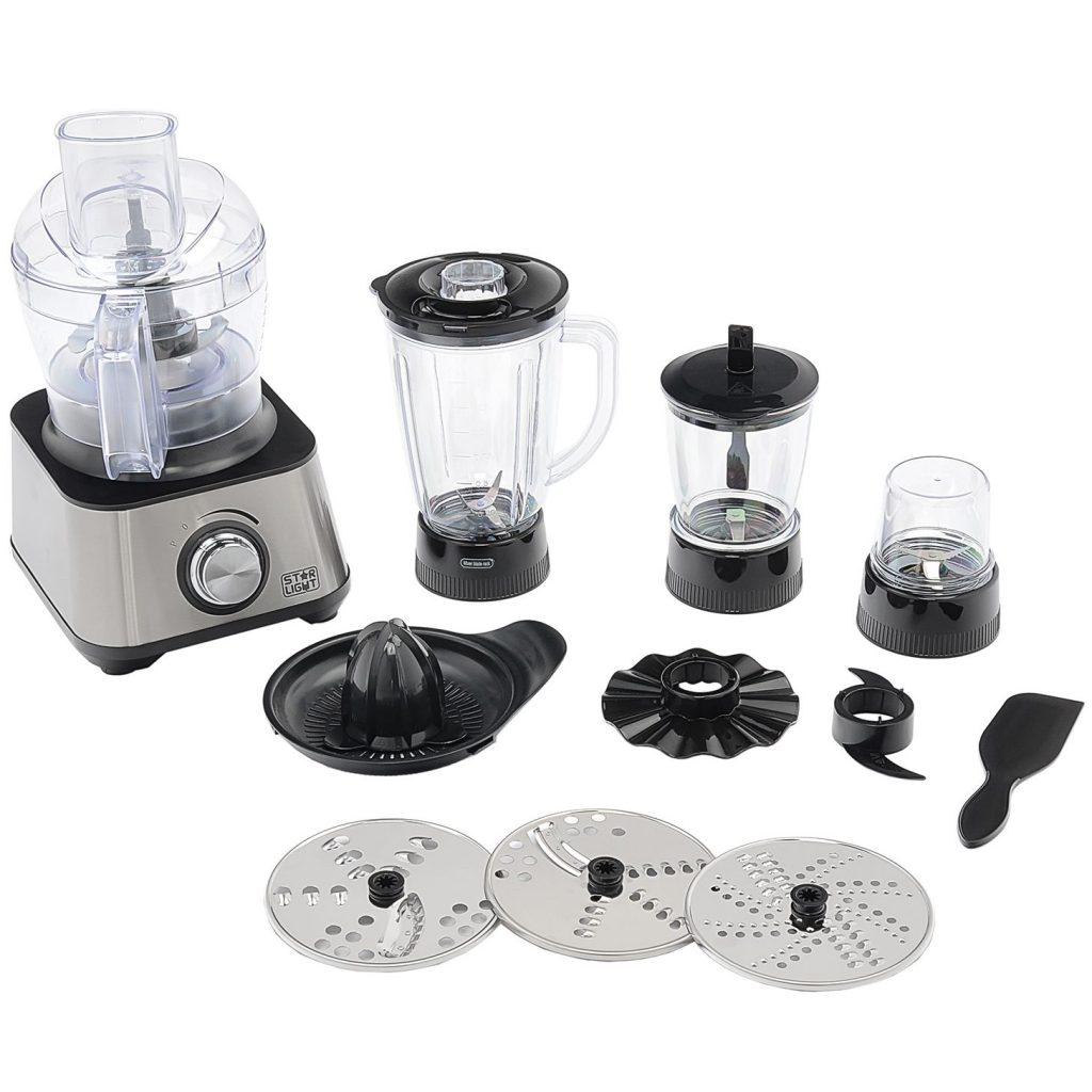 Кухненски робот Star-Light Quisine QUI-905, 1000 W, Bol 1.2 л, Променяща се скорост със светодиод, Блендер 1.5 л, Иноксови дискове, Инокс/Черен
