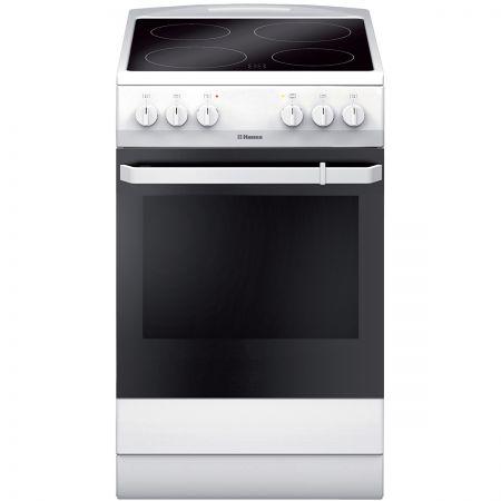 Електрическа готварска печка Hansa FCCW54009, Витрокерамика, 4 Нагревателни зони, Функция грил, Клас А, 50 см, Бяла
