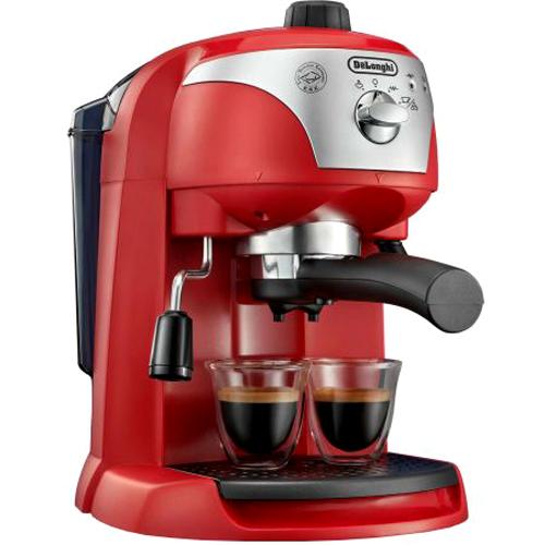 Еспресо машина DeLonghi EC221.R, Ръчна, Устройство за пяна, Система cappuccino, 15 бара, 1 л, Автоматично изключване, Червена