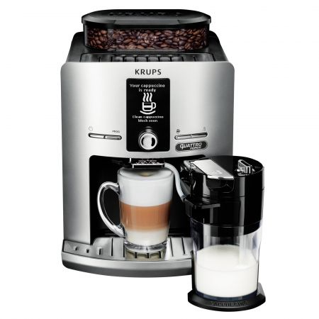 Еспресо машина Krups Latt'EspressSilver EA82FE10, Автоматична, 1450W, 15 бара, LCD, One-Touch-Cappuccino, 1.7 л, 6 вида напитки, Сребриста