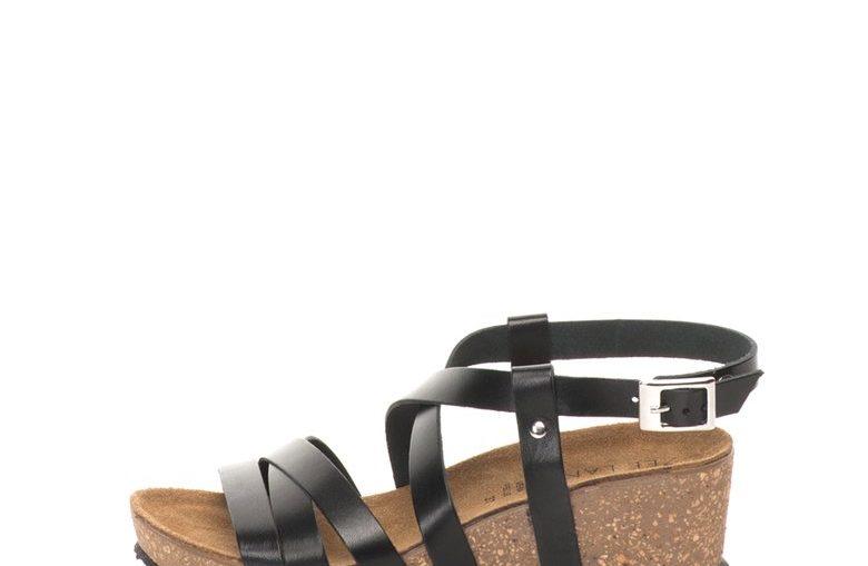 Черни кожени сандали на скосена платформа Zee Lane