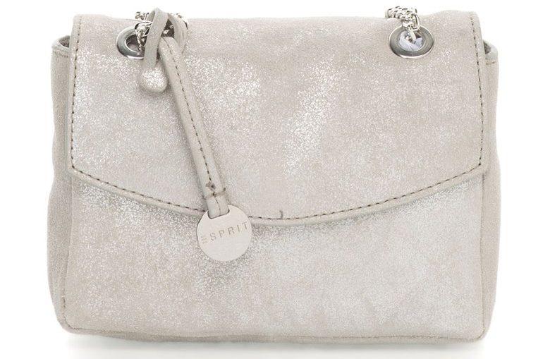 Малка кожена чанта в сиво с брокат Esprit