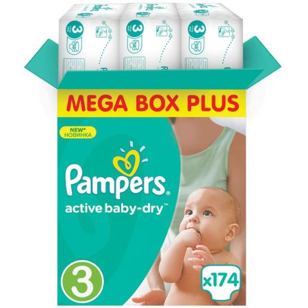 Пелени Pampers Active Baby 3 Mega Box Plus , 174 броя